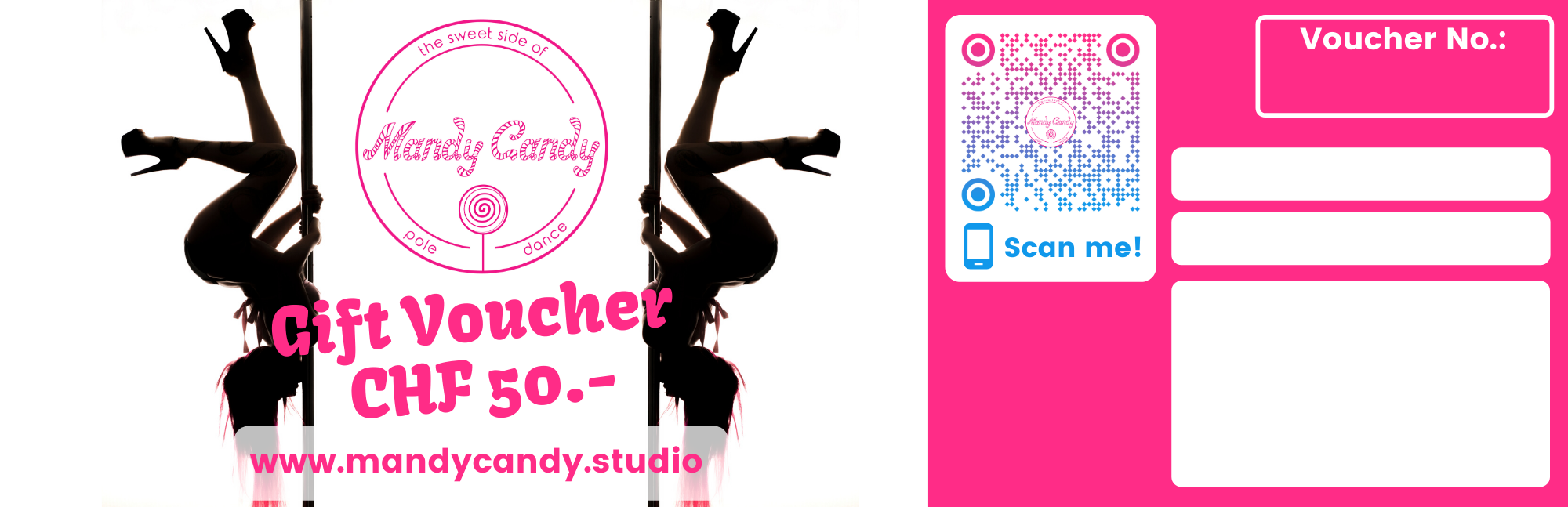 Gift vouchers Mandy Candy's pole dance studio