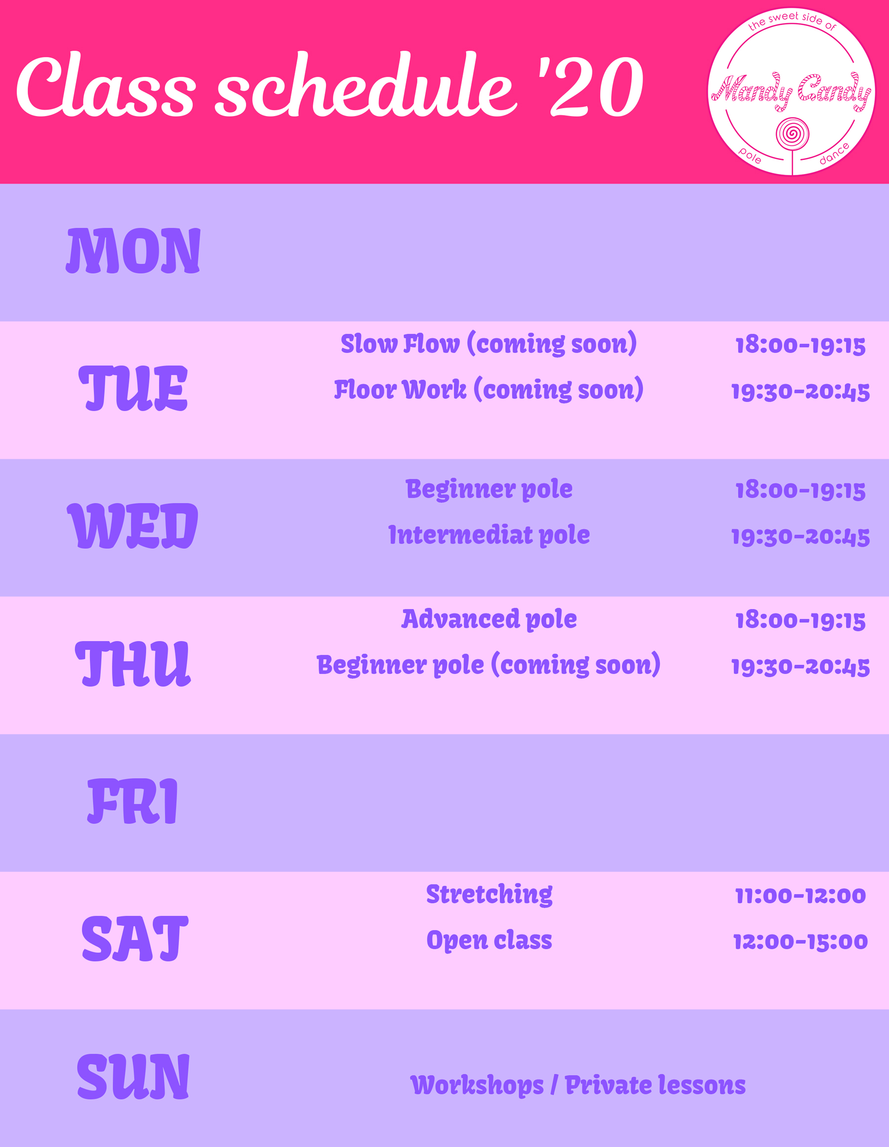 Class schedule 2020 Mandy Candy's Pole Dance Studio