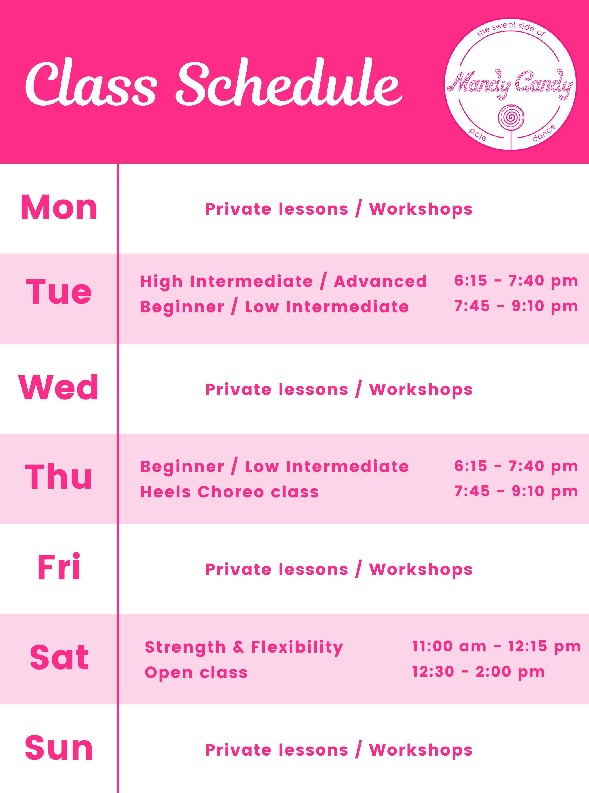 New class schedule September 2021 Mandy Candy's Pole Dance Studio